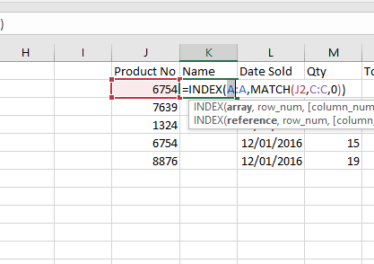 Index Match Function in Excel