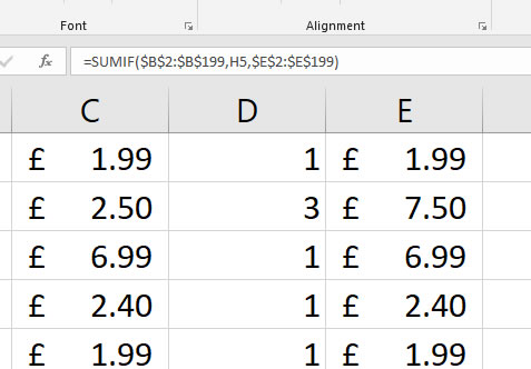 SUMIF Formula with Dollar Signs