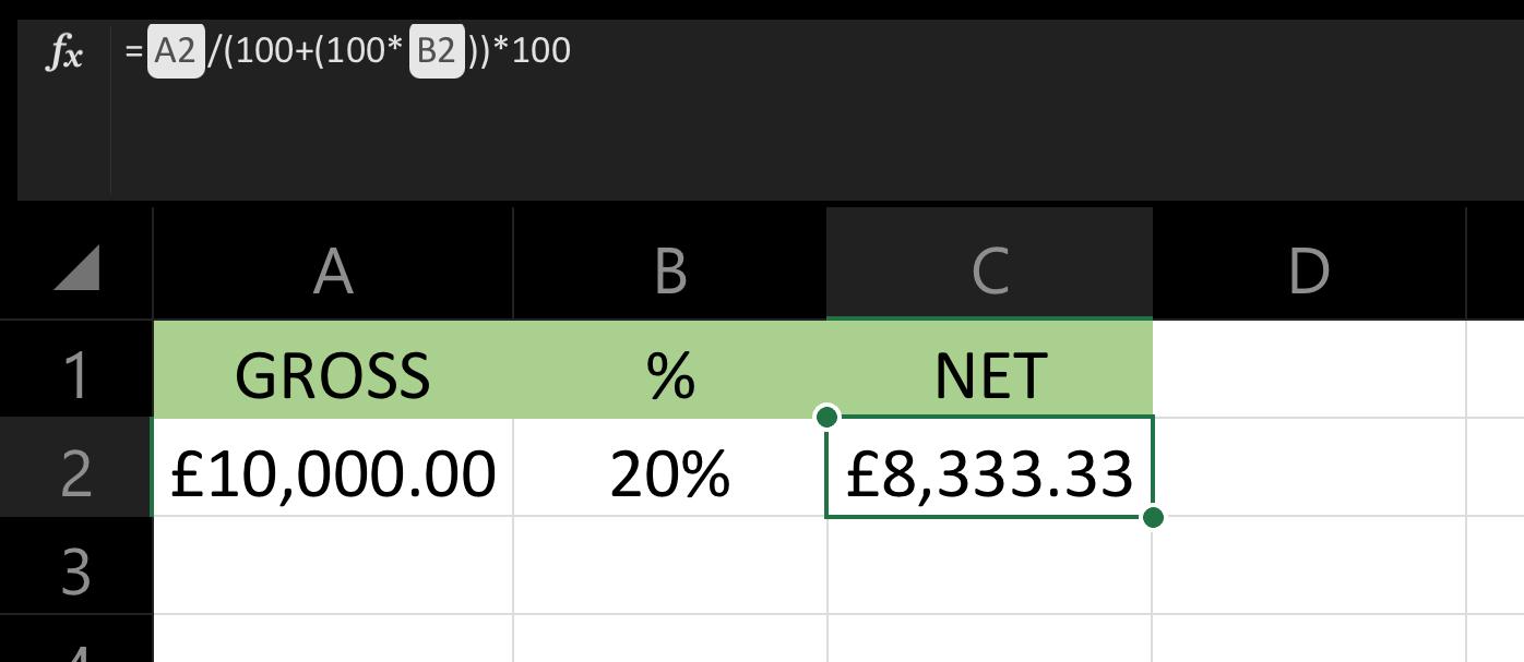 VAT formula in Excel