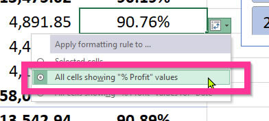 Pivot Table Conditional Formatting apply formats to a particular field