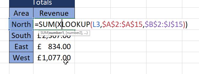 Using XLOOKUP within a SUM formula