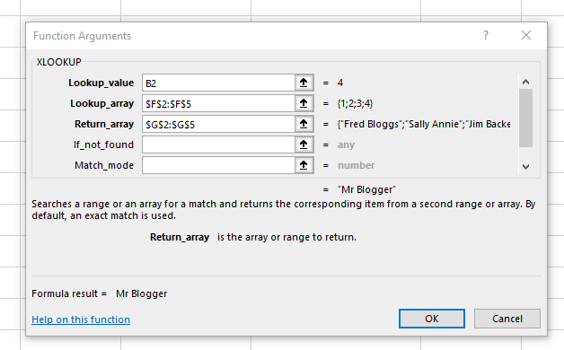 XLOOKUP Function Arguments box. Similar to VLOOKUP and HLOOKUP but with more