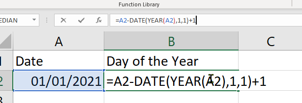 Day of the year Excel Formula